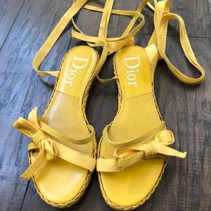 Dior lace up yellow sandals